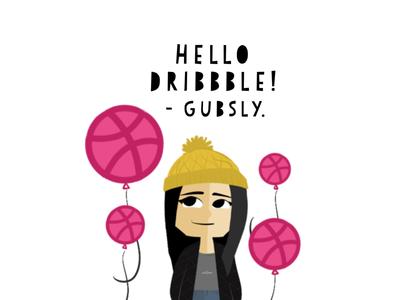 HELLO DRIBBBLE! from @gubsly. digital illustration digital artist procreate pocket procreate dribbble debut thank you invite hello dribbble first post threadless gubslyart gubsly debut
