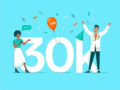 30k Milestone balloon color party nurse doctor branding creative healthcare celebration 30k users clinical milestone digital art character vector illustration