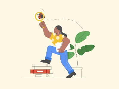 Discovery resources discover stroke illustration colorful plant ladybug laptop books illustration character vector female search characterdesign google
