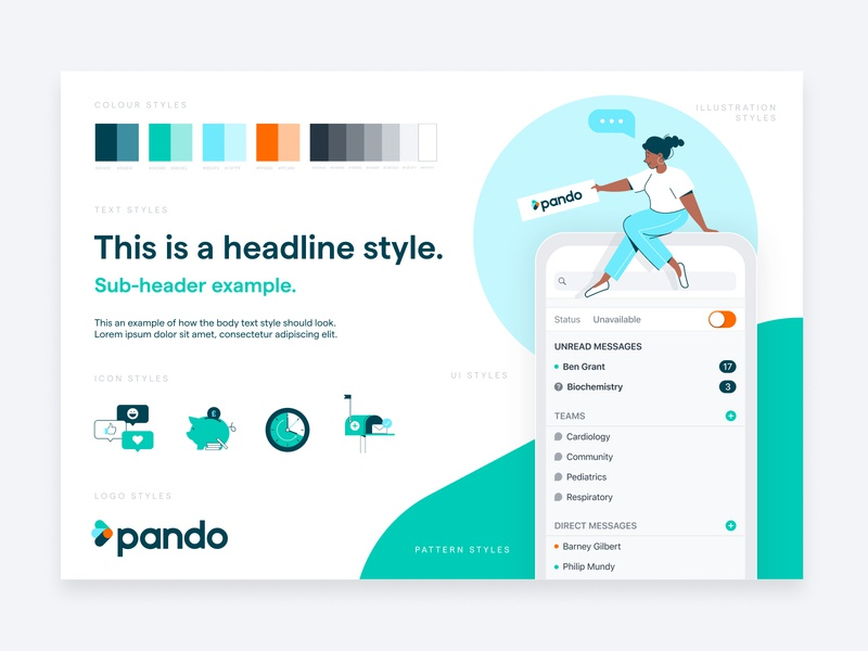 Pando Style Tile communication pando healthtech iconography mobile app brand design typography ui logo creative digital character illustration health clinical style tile branding