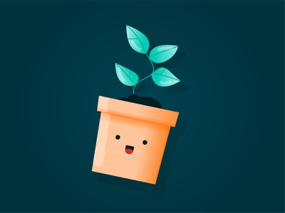 Growth Emoji gradient pot flower growing flat icon colourful happy growth emoji plant textured character art branding creative digital vector character illustration