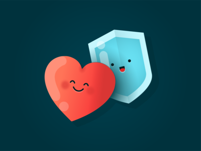 Kindness & Trust Emoji simple icons app ui branding values gradient art creative shield love cute character vector illustration emoji trust kindness