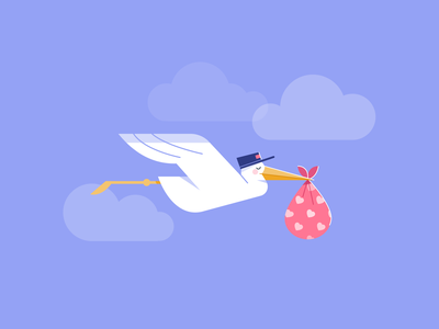 Delivery arrival midwife healthcare app flatdesign stroke illustration branding illustration vector flight newborn baby bird character stork delivery