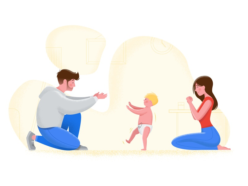 First Steps flat child sketch people digital art steps first home texture art vector illustration design character son father family