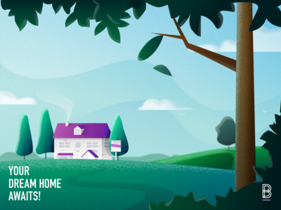Your Dream Home Awaits sky hills countryside property branding creative scenery trees home nature landscape grain textured vector illustration art digital