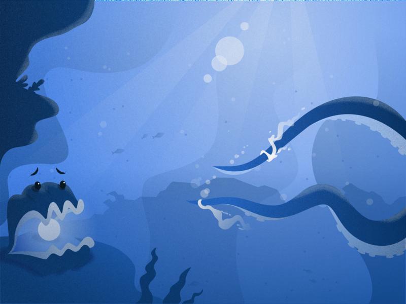 Deep Sea Drama digital art design illustration illustrator layers depth petrified scared textured vector scene fish pearl oyster clam water blue deep sea underwater