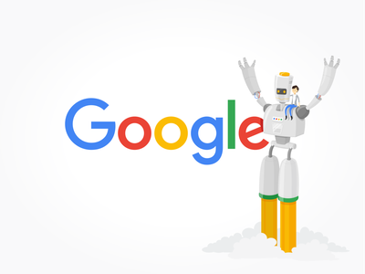 Launch flat fictional digital vector technology colorful illustration 2d blast ai character robotics launch google robot
