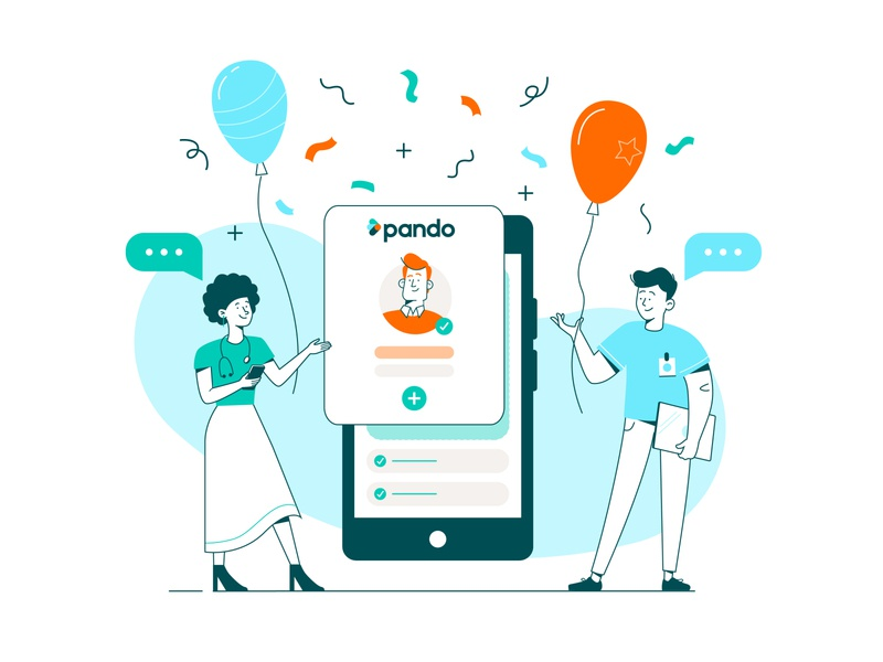 Welcome to Pando! recruitment outlines line art flat chat vector celebration balloons welcome character nhs app medical healthcare branding illustration
