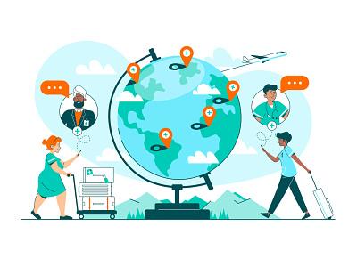 Pando Has Landed! diverse globe chat nurse doctor plane global mobile branding digital character vector illustration clinical app healthcare