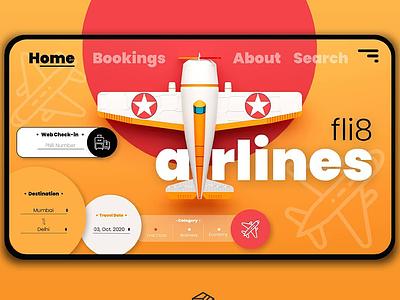 Fli8 airlines UI/UX illustration branding artwork color flat art 3d 3d art 3dsmax 3d artist 3d animation 36 days of type