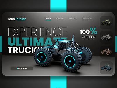 Truck UI/UX illustration branding artwork color flat art 3d 3d art 3dsmax 3d artist 3d animation 36 days of type