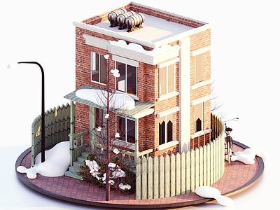 The Urban House illustration branding artwork color flat art 3d 3d art 3dsmax 3d artist 3d animation 36 days of type