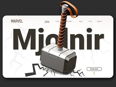 Thor 'mjolnir' illustration branding artwork color flat art 3d 3d art 3dsmax 3d artist 3d animation 36 days of type