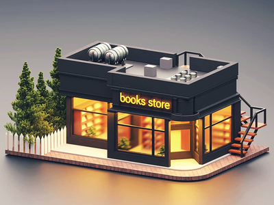 The Store illustration branding artwork color flat art 3d 3d art 3dsmax 3d artist 3d animation 36 days of type