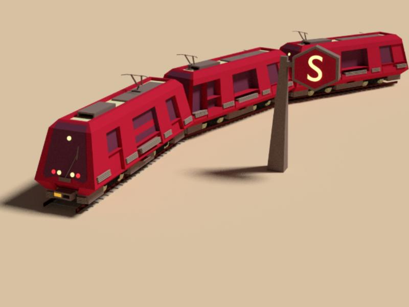 Train model 3d craft artwork design cream white red blender railways 3d train