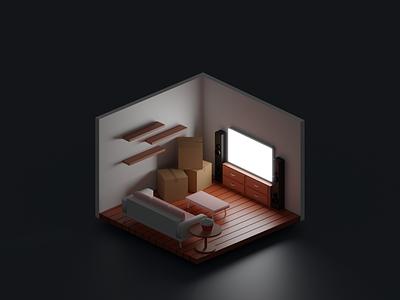 Room isometric illustration art abstract art blender vector illustrator design room booking unpacking shelf box sofa popcorn tv room