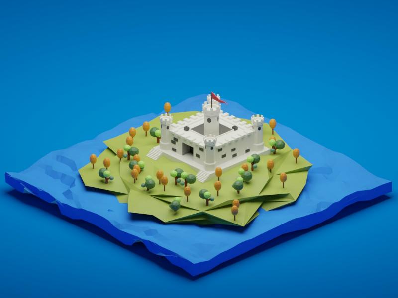 Castle blender low poly landscape ocean sea blue castle