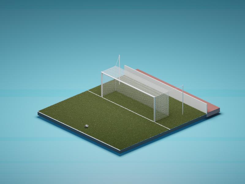 Football focus light yellow blue red texture grass goalpost goal ball color football