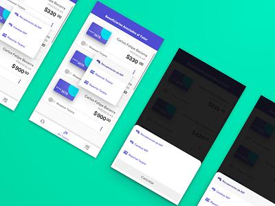 Wallet - Contextual Actions Exploration bank card financial menu list android ux ui wallet fintech