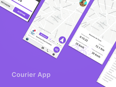 Courier App dark ui dark mode location map interface shipping bycicle messenger tracking courier delivery