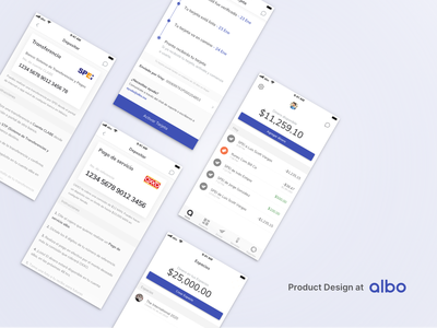 Product Design at albo wallet app product design features interface startup financial white clean wallet challenger bank fintech