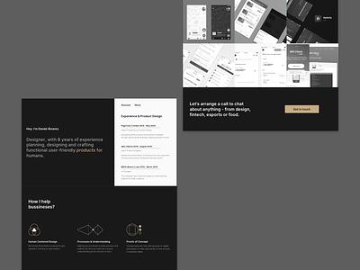 Portfolio V3 curriculum vitae cv resume gold minimalist icons ux ui dark ui webdesign website portfolio
