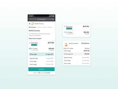 Cuanto - Payments Plan sales fintech ecommerce checkout payments pnbl buy later pay now user experience user interface
