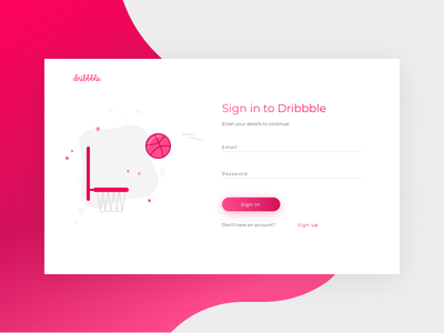 Dribbble Sign In Page debut uidaily basketball dribbble ball dribbble daily dailyui web ux ui design