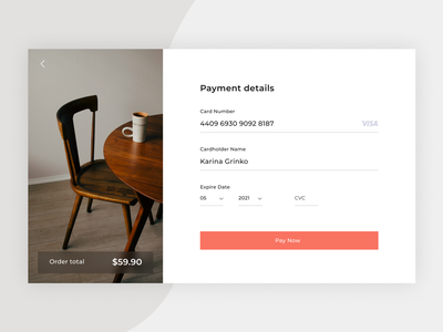 Credit Card Checkout credit card form payment furniture web ux uidaily design dailyui daily ui