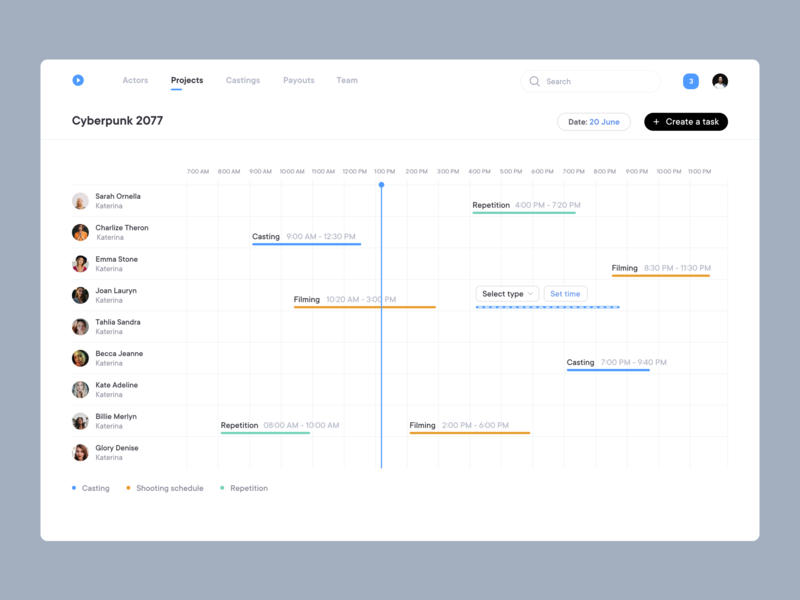 Schedule web design clean ui timeline schedule team management castings producer software producer filming complex saas design saas app saas complex ui system pms crm motion management system movies