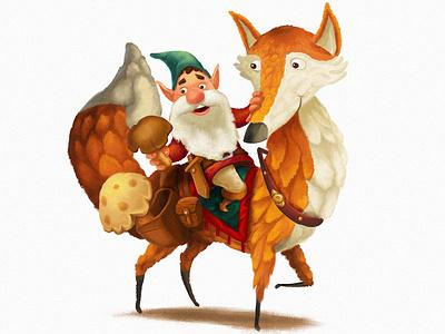 Foxrider gnome illustration fox