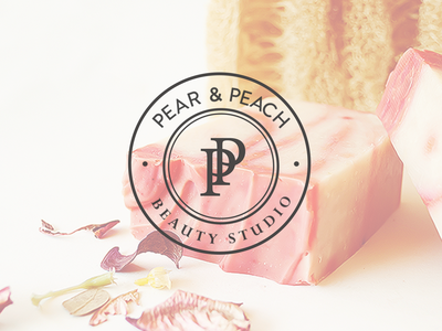 Pear & Peach Beauty Studio beauty products beauty logo logo logotype graphic design brand identity branding