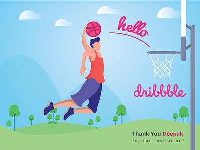 Hello Dribbble! player basketball thank you card debut illustration