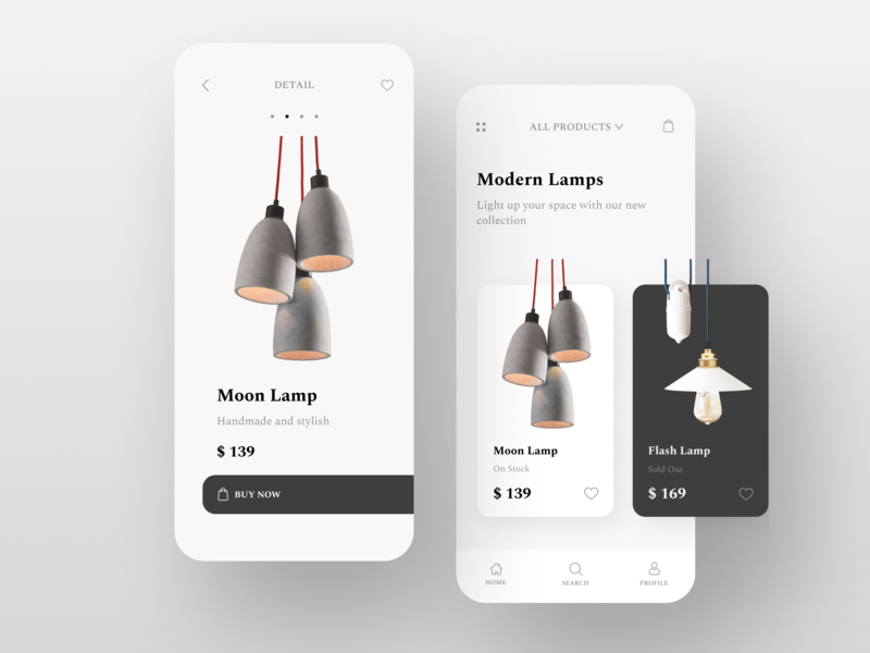 Lamps e-commerce app uiux clean white app design app typography branding template concept ecommerce ui ux typogaphy ecommerce design design
