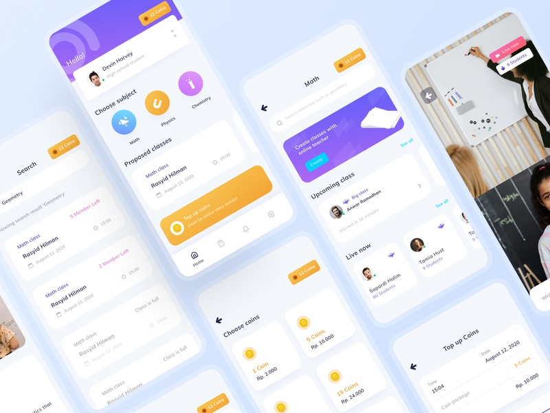 Online Class UI Kit education education app ios clean clean design dailyui ui design