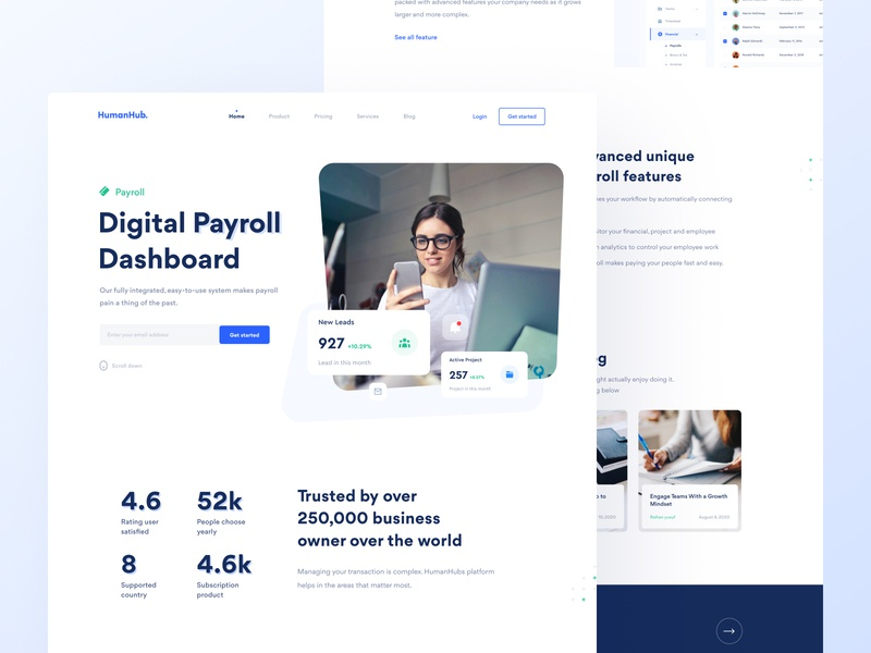 Human Hub - Landing Page statistics transaction ios clean white blue clean design dailyui ui design