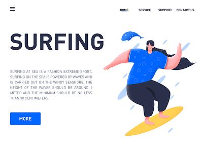 Surfing at sea website art illustration sketch clean app web ux ui design