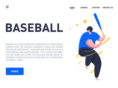 Baseball illustrator flat clean website ux ui graphic design web illustration design