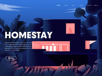 Homestay illustrator flat illustration website art sketch graphic design clean web ui design