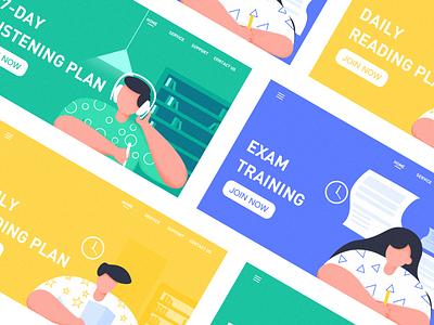 Scallop English Listening art app sketch website illustration graphic design clean ux ui design