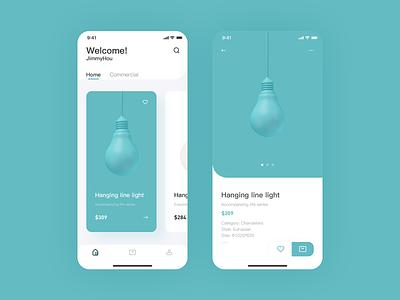 Lamp interface website illustration flat art sketch app graphic design clean ux ui design