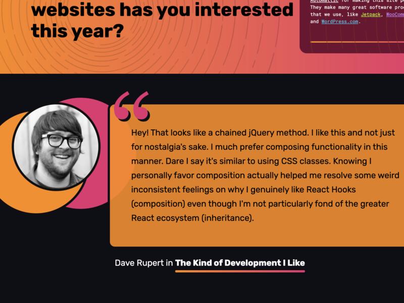 2019 End-of-Year Series on CSS-Tricks pink orange blockquote css-tricks
