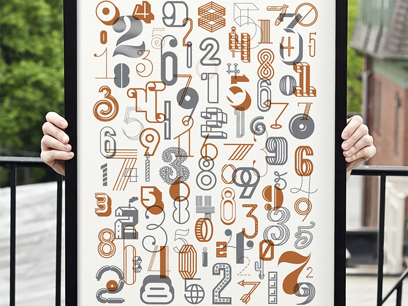 The Numbers Poster : 2 series the numbers poster digits numbers poster photo screen print spitz michael michaelspitz michael spitz collab typography type print metallic numerals