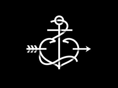 Anchor Heart black and white overlap anchor heart shadow shading nautical arrow rope mark monoweight