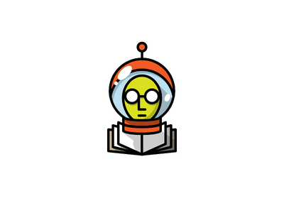 Science Fiction Author monoweight writer astronaut spot illustration illustration icon helmet space book author