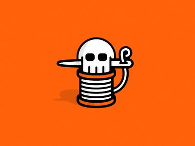 Dead Threads : Secondary Mark mark illustration logo identity branding thread needle apparel clothing skullz skull