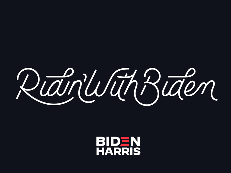 Ridin' With Biden red white and blue black and white ligatures ligature branding logo monoweight illustration voteforbiden kamala harris ridinwithbiden joe biden election2020 script campaign election vote custom type lettering typography type