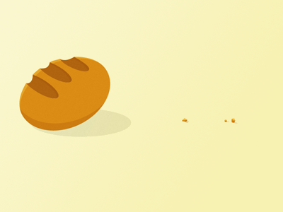 You're On A Roll pun carbs crumbs runaway bread illustration rebound