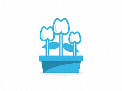 Floral Dentistry 2A flowers family teeth dentist pot branding identity logo plant