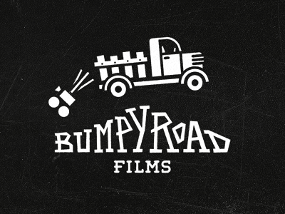 Bumpy Road logo branding identity film production black and white movies retro classic hand drawn typography custom type type logotype truck camera hand lettering